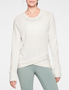 ATHLETA WOMEN'S BEYOND SOFT IVORY LONG SLEEVE CRISS CROSS SWEATSHIRT TOP Sz L