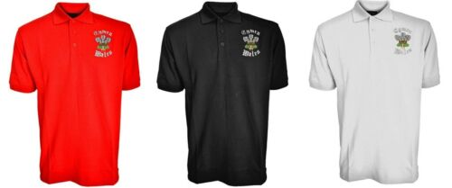 New Mens Cymru Wales Welsh Three Feathers Embroidered Alun Polo Shirt Top