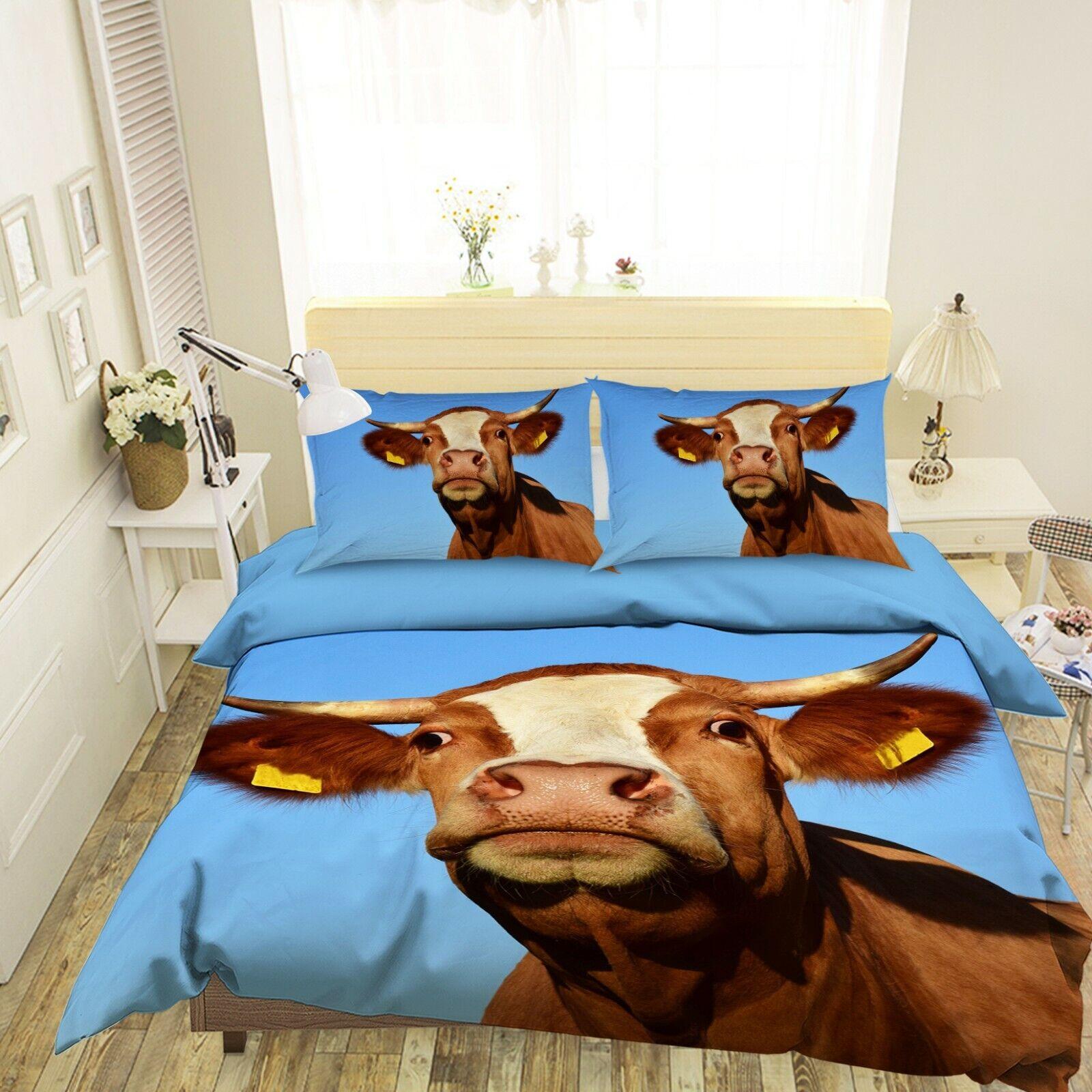 3D braun Cow N29 Animal Bett Pillowcases Quilt Duvet Startseite Königin König Amy