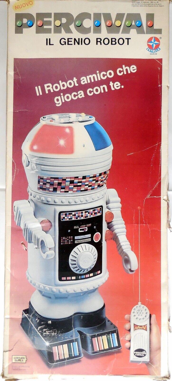 VINTAGE TOY GIOCATTOLO PERCIVAL IL GENIO ROBOT ESTRELA 1983