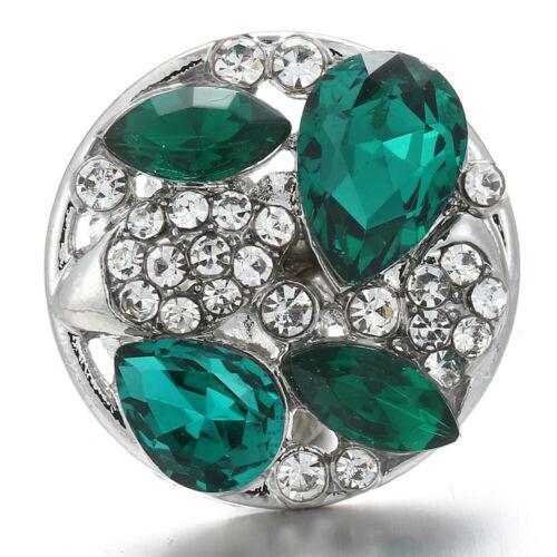 10pcs cristal Bling Chunk Charm Snap Bouton fit 18 mm perceuse Noosa Bijoux N1097