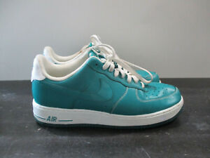 Nike-Air-Force-1-Shoes-Mens-9-5-Green-White-Lush-Teal-Sneakers-488298-302