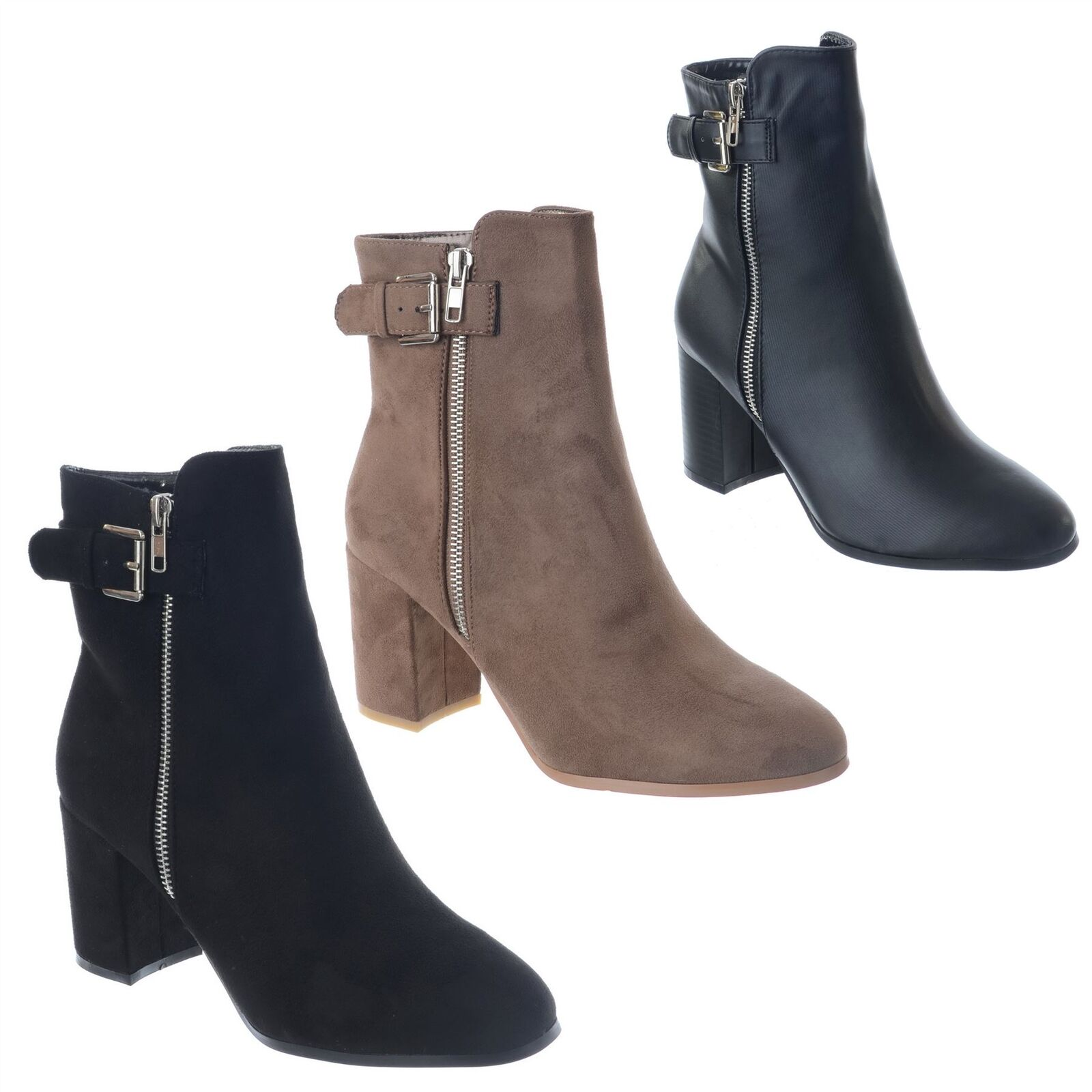 WOMENS LADIES ANKLE BOOTS BLOCK MID HIGH HEEL CASUAL CHUNKY BUCKLE SHOES SIZE