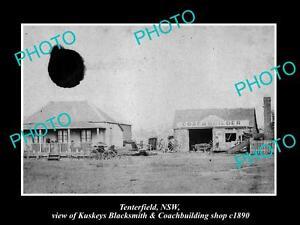 OLD-LARGE-HISTORIC-PHOTO-OF-TENTERFIELD-NSW-KUSKEYS-BLACKSMITH-SHOP-c1890