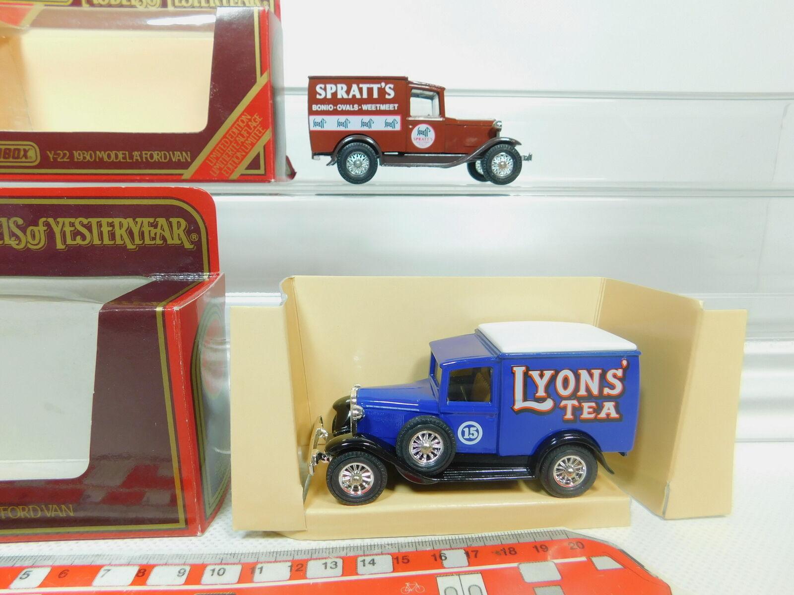 BO966-1  2x Matchbox Y-22 Furgoneta Ford Ford Ford Modelo a   Spratt's + Lyons ' Tea,S. G 5d0245