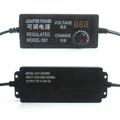 3-24V 2A//3A//5A Speed Control Volt AC//DC Adjustable Power Adapter Supply Display