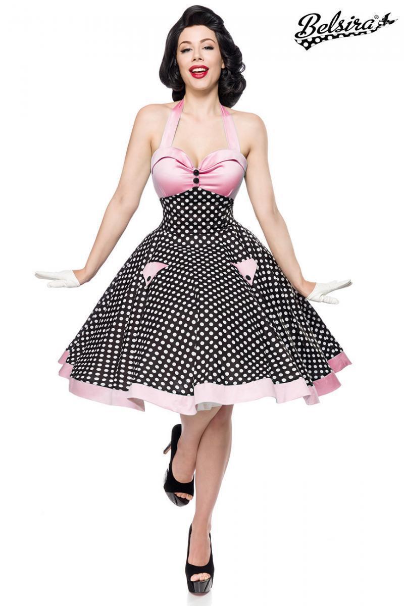 details zu belsira swing kleid vintage rockabilly pinup blau rosa weiß  punkte neckholder