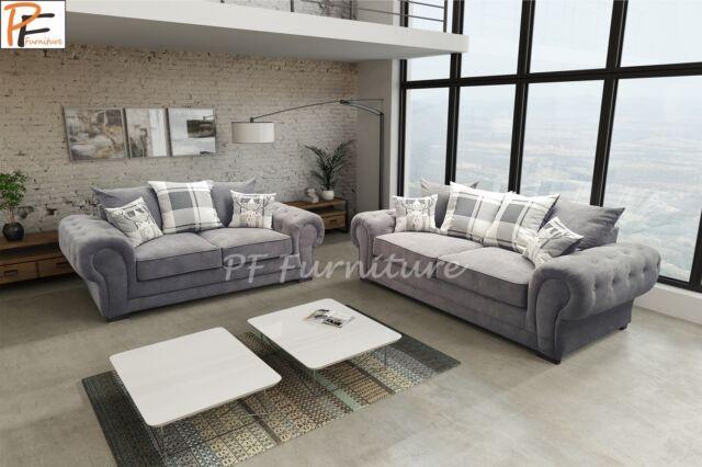 New Verona Sofa Set 3 2 Seater Fabric Dark Grey