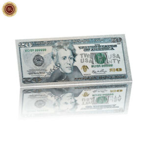 WR-2000s-USA-20-Dollar-Note-Silver-Color-America-Banknote-Collection