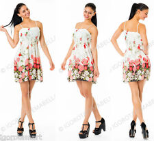Brand New Hot Sexy Summer Spaghetti Strap Beach Mini Flower White Chiffon Dress