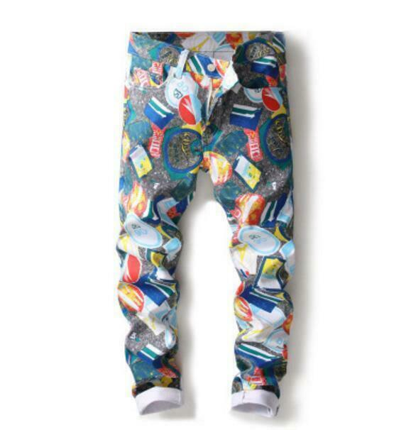 Mens Floral Printing Skinny Pants Casual Trousers Straight Cargo Nightclub Pants