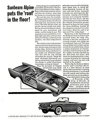 """/""""Puts the Roof in the Floor!/"""" original 1962 1963 Sunbeam Alpine vintage ad"""