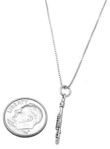 STERLING SILVER SMALL WOODWIND FLUTE CHARM WITH BOX CHAIN NECKLACE
