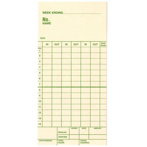 Time Cards Two-week Top-feed Form 85230 Replaces Simplex Form 1950-9143