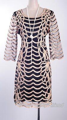 1920's Vintage Dress Gatsby Clubwear Gold Waves Rope Art Deco  Nouveau  AF 3294