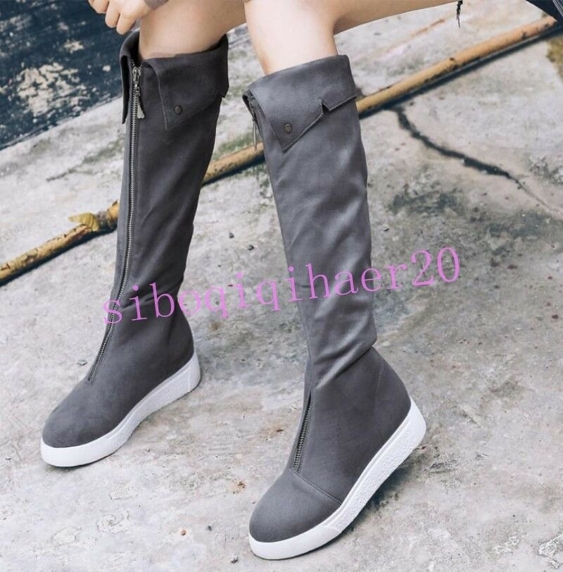 Korean Womens Knee High Boots Front Zip Faux Suede Round Toe shoes Flat Heel Hot