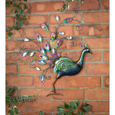 Hand Finished Diamante Peacock Wall Art Multicoloured Design Garden Decoration