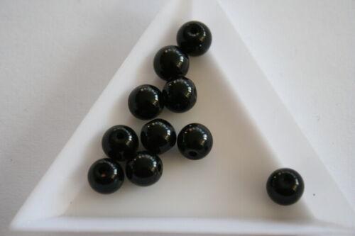 Round Black Glass beads #4004 40 beads 8mm