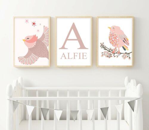3 Personalised Wildlife Birds Prints Kids Nursery Wall Art Decor Pictures