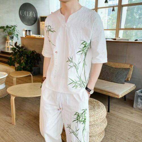 Chinese imprimé chemises Mens définit 2pcs Floral Style Summer des lin coton pantalons n0kOPw