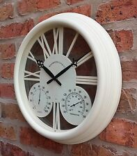 Outdoor Garden Wall Clock Thermometer C&F Humidity Meter 38cm Cream colour 1176