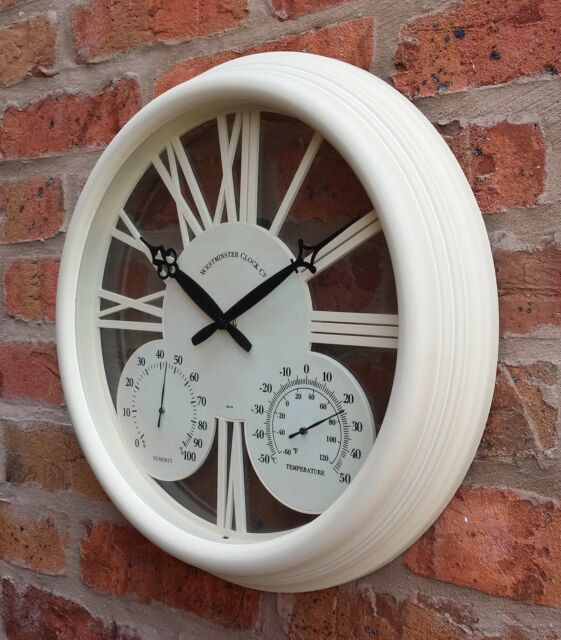 Outdoor Garden Wall Clock Thermometer C F Humidity Meter 38cm Cream Colour 1176