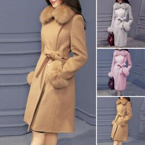 Women-039-s-Faux-Fur-Collar-Wool-Long-Coat-Jacket-Winter-Belt-Outwear-Overcoat-HOT