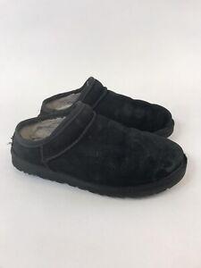 Genuine-UGGS-neri-in-pelle-scamosciata-Scuffette-Donna-Mocassini-Scarpe-Pantofole-Taglia-US6-UK4-5