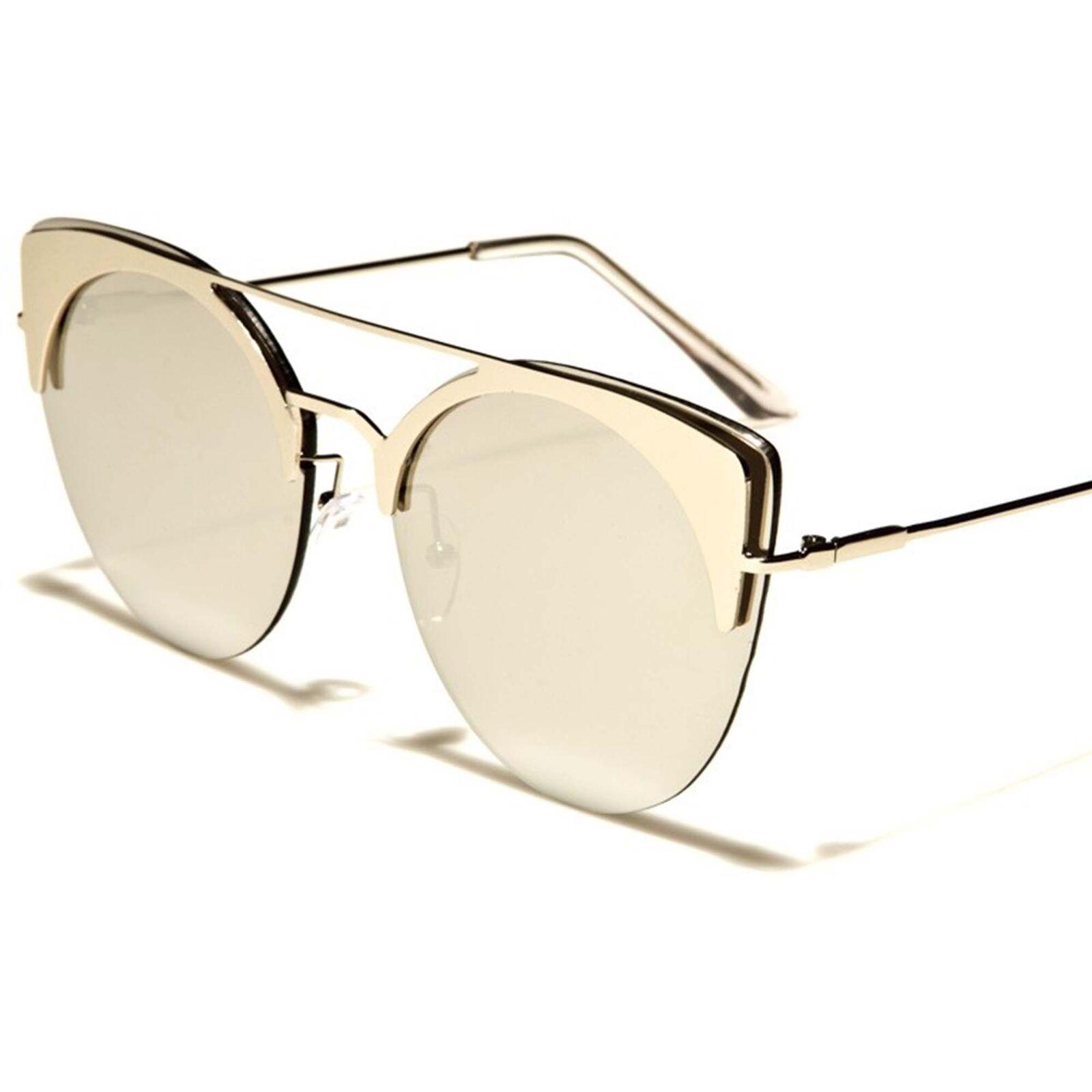 Celebrity Fashion Elegant Chic Designer Chrome Mirrored Lens Cat Eye Sunglasses
