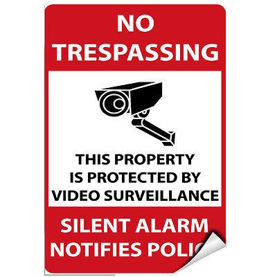 no trespassing VIDEO SURVEILLANCE Security Decal  Warning Sticker set of 14 pcs