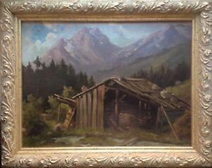ALPEN-ROMANTIKER-ANTIK-BERGHUTTE-NORDITALIEN-UM-1880-GRUNDERZEIT-RAHMEN