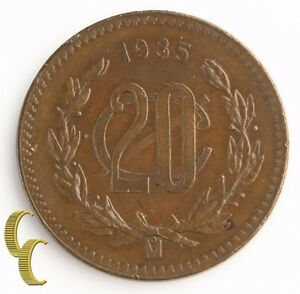 1935-Mo-Mexico-20-Centavos-Uncirculated-UNC-Veinte-Twenty-20c-Coin-KM-437