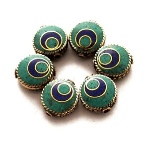 Turquoise-Lapis-6-Beads-Tibetan-Nepalese-Ethnic-Handmade-Nepal-UB28
