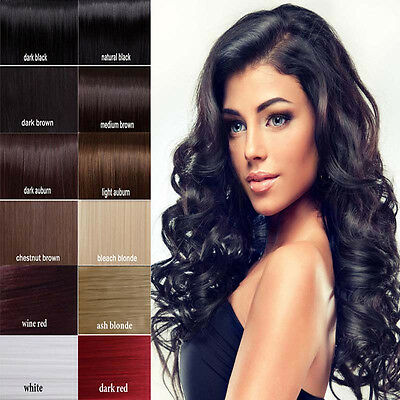 """US Cheap Price 7 PCS Clip In Remy Human Hair Extensions Full Head Black 20"""" B445"""