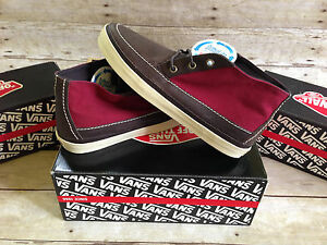 4f4f25ba3078a1 VANS MESA 79 CA LEATHER CANVAS DARK BROWN RED MENS SIZE 9 SKATE ...