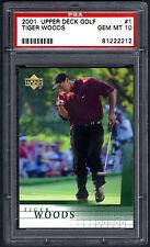 TIGER WOODS~2001 UPPER DECK GOLF #1 GRADED PSA-10 GEM-MT HOT PGA ROOKIE RC CARD