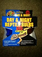 Zoo Med 60w Day/night Light/heat Bulb Combo Pack Reptiles/terrariums Free