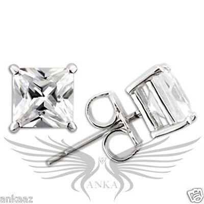 AAA CZ Cubic Zircon Princess Rhodium on 925 Sterling Silver Earrings 0W160