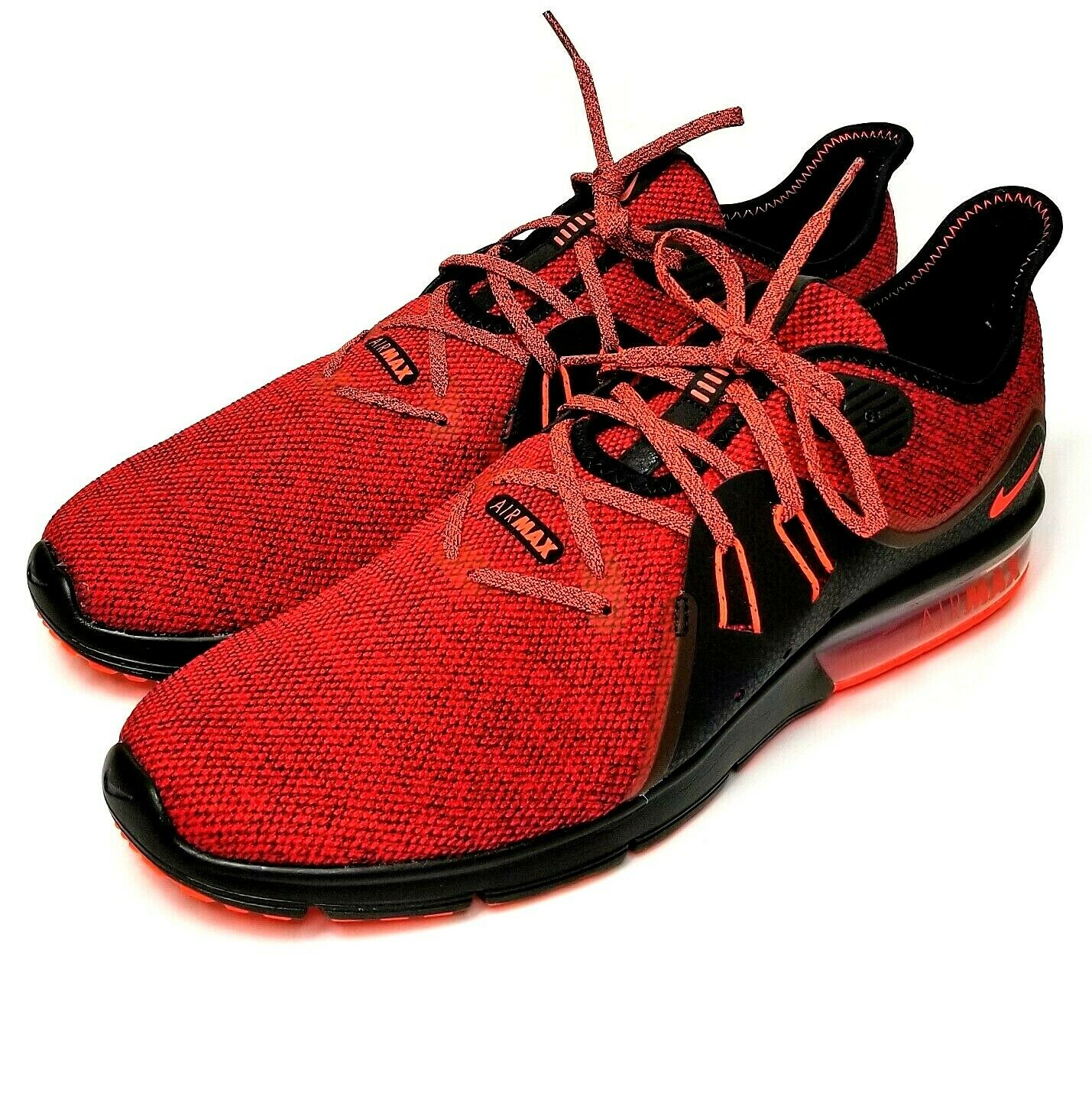 Nike Air Max Sequent 3 Running Athletic shoes 921694-066 Red Black Mens 13 NEW