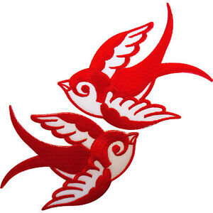 Pair Red White Iron On Swallow Bird Patches Sew On Embroidered Biker Patch Badge