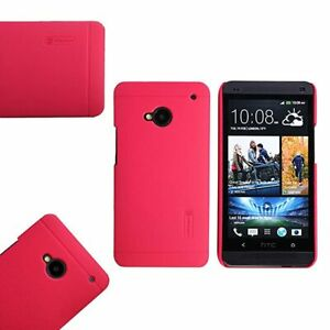 Nillkin-Super-Frosted-Case-For-HTC-One-M7-Screen-Protector-Red