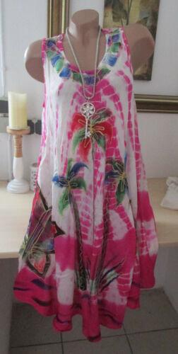 Sommer Strand Kleid Trägerkleid Batik Blumen Pink Hippie Stickerei Süß 36 38 40