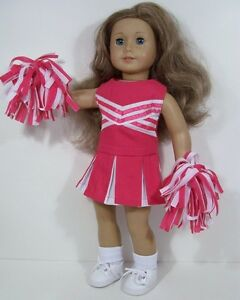 3pc DK PINK Cheer Cheerleader Doll Clothes Pom-Poms For 18 American Girl Debs