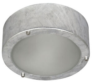 Galvanised-Outdoor-Exterior-Metal-Mains-Wall-Ceiling-Light-Garden-Passage-Shed