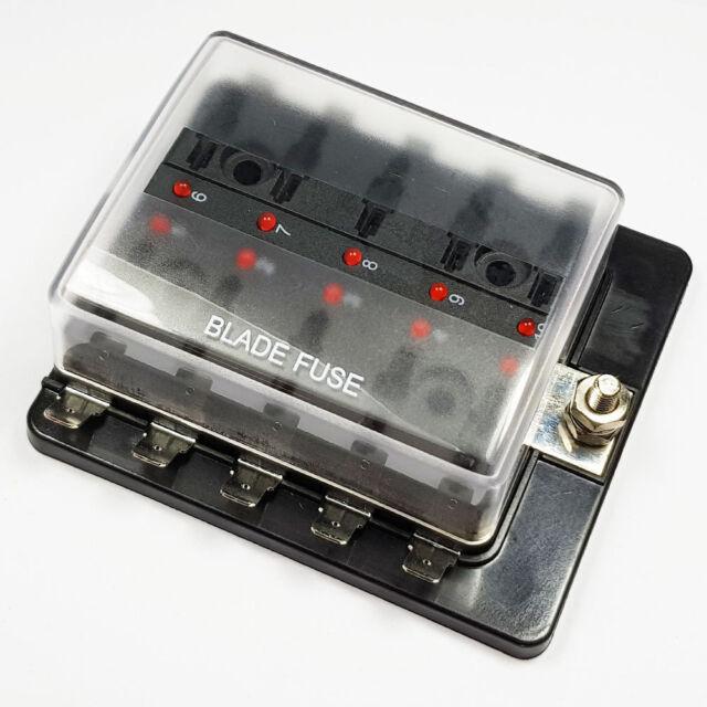 10 Ways Fuse Box Universal Blade Board Block with LED Indicate Light 12V Car Van