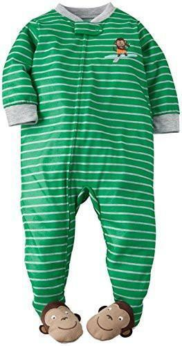 Carter/'s Baby Boys Toddler Striped Graphic Footie Monkey New
