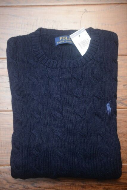 Polo Ralph Lauren Mens Crew Neck Cable Knit Navy Blue Cotton