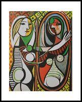 Pablo Picasso Frau vor dem Spiegel Poster Kunstdruck mit Alu Rahmen in 50x40cm