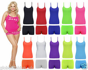 a721e8eb29de8 Womens Girls Vest Bottom Ladies Lycra Top Shorts Sports Wear Holiday ...
