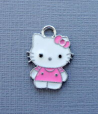 Hello Kitty 3 pcs Enamel Pink Pendants Charms Dangle Jewlry findings  DIY c210